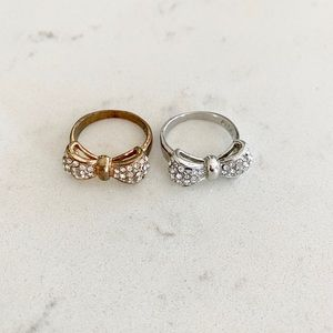 Bow faux gold/silver and diamond rings